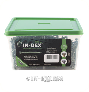TIMco In-Dex Decking Screw General Purpose Organic Green Screw- With Free Impact Drive Bit