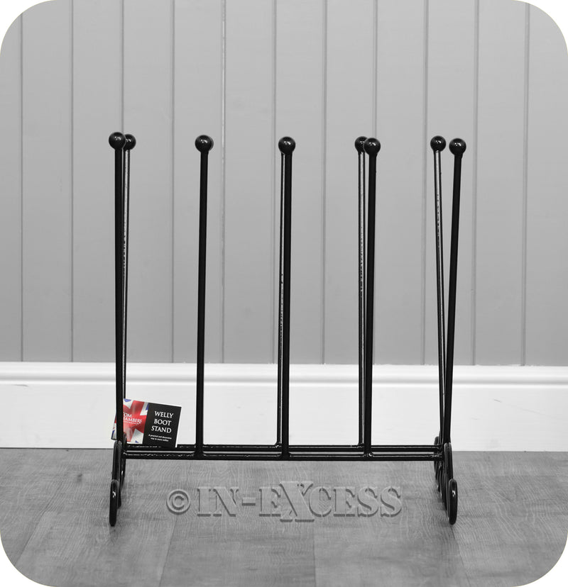 Tom Chambers Heavy Duty Decorative Double Wellington Boot Stand Holder - Black
