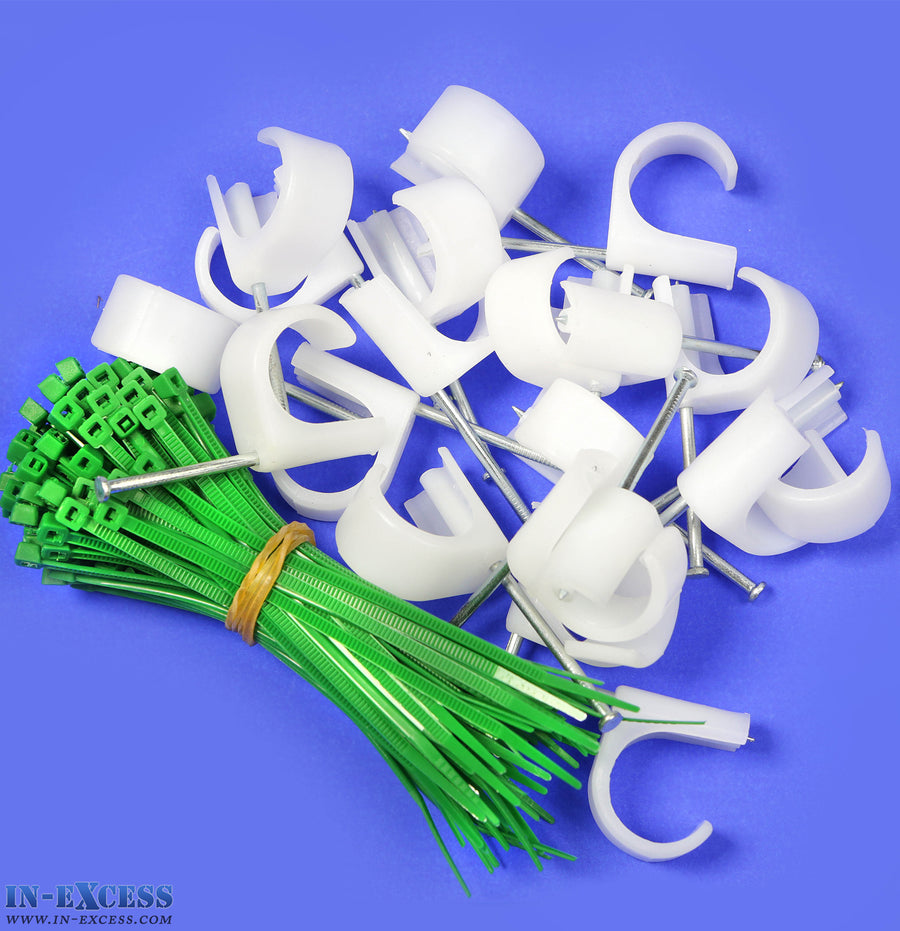 Toolmaster (120pc ) 22-26mm White and Green Clip & Cable Tie Set