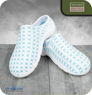 Town & Country Original Eva Cloggies Shoes - Teal Pattern