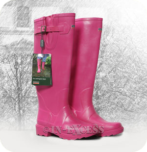 Town & Country Stylish Adjustable Deep Tread Wellington Walking Boots - Pink