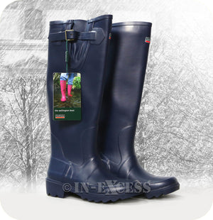 Town & Country Stylish Adjustable Deep Tread Tall Wellington Walking Boots - Navy Blue