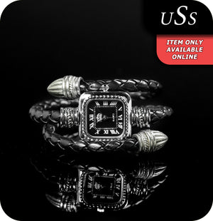USS Arabella Quartz Watch With Synthetic Leather Coiled Strap - Black & Silver