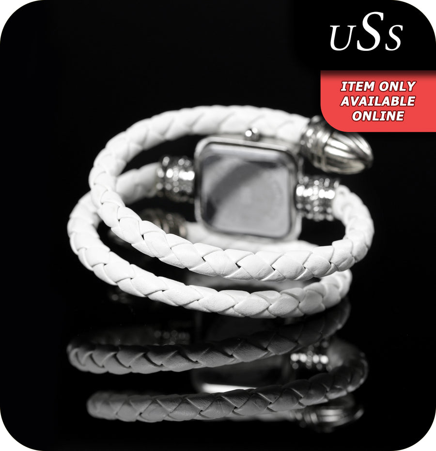 USS Arabella Quartz Watch With Synthetic Leather Coiled Strap - White & Silver