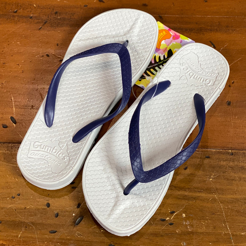 Gumbies Austomic Fish Flip Flops -White & Blue UK Size 2/3