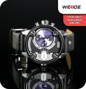 Weide Colossus Sport Quartz Watch With Genuine Leather Strap - Blue, Silver & Black