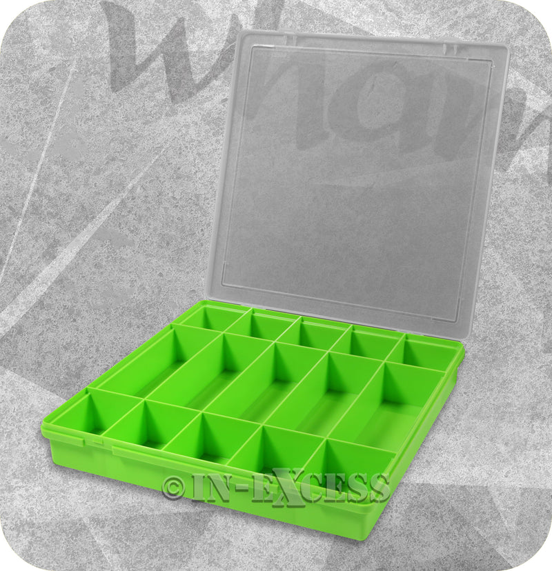 Wham Homeware Hobby Craft Bits & Bobs Square Storage Organiser Box - Lime & Clear