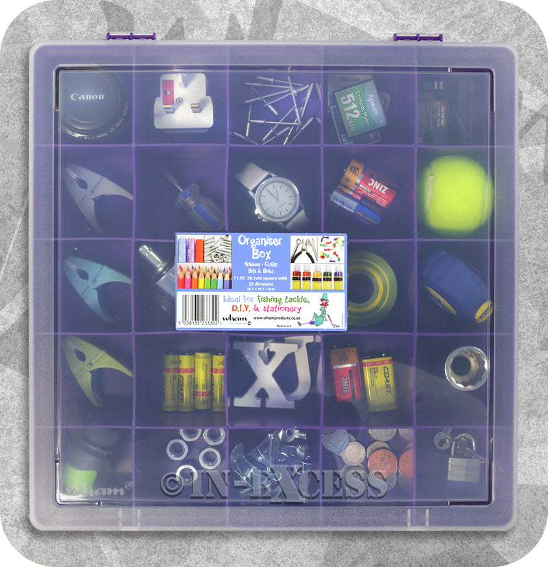 Wham Homeware Hobby Craft Bits & Bobs Square Storage Organiser Box - Violet & Clear