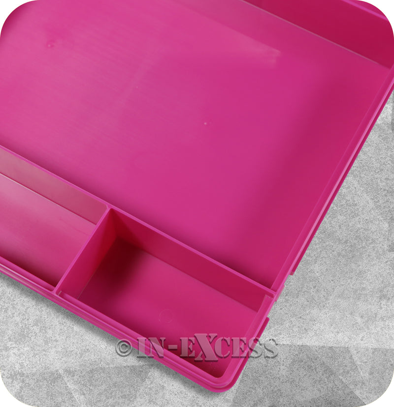 Wham Homeware Hobby Craft Bits & Bobs Square Storage Organiser Box - Fuchsia & Clear