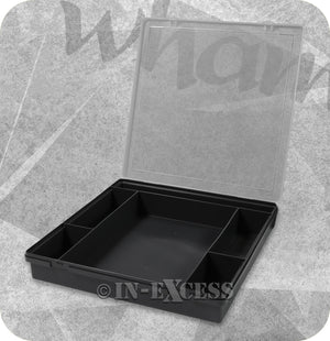 Wham Homeware Hobby Craft Bits & Bobs Square Storage Organiser Box - Graphite & Clear