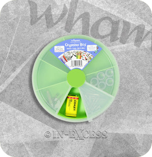 Wham Homeware Hobby Craft Bits & Bobs Round Storage Organiser Box - Lime & Clear
