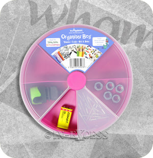 Wham Homeware Hobby Craft Bits & Bobs Round Storage Organiser Box - Fuschia & ClearWham Homeware Hobby Craft Bits & Bobs Round Storage Organiser Box - Fuschia & Clear
