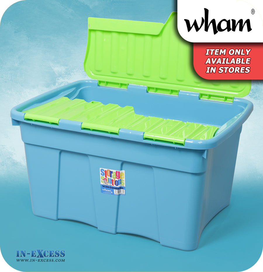 Wham Storage Solutions Plastic Croc Storage Box 54 Litres - Lime & Teal