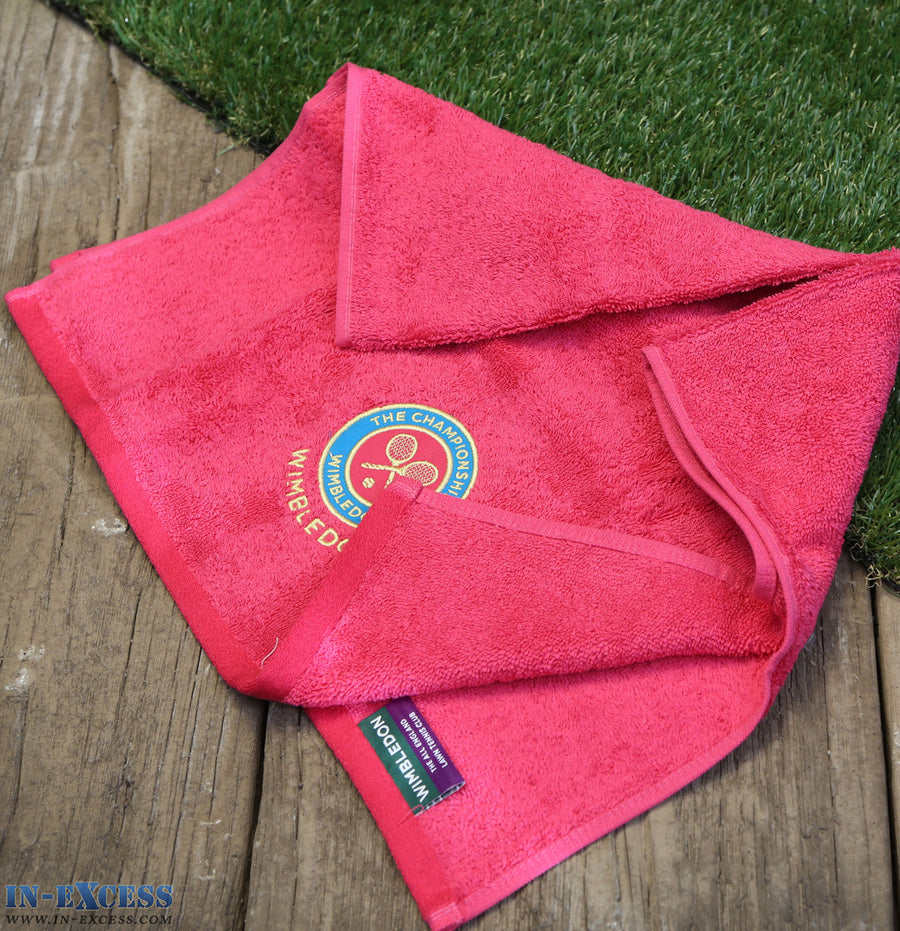 Official Wimbledon Embroidered Guest Towel Fuchsia Tennis Cotton 70 x 40cm