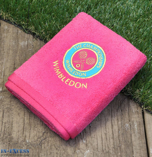 Official Wimbledon Embroidered Guest Towel Pink Tennis Cotton 70 x 40cm
