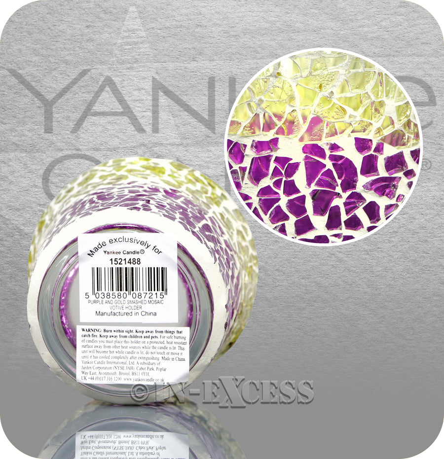 Yankee Candle Mosaic Smashed Votive Candle Holder - Purple & Gold