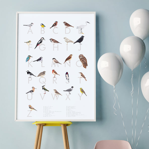 An A-Z guide of British Birds! A digital print on archival paper.Light grey background, with each bird sitting on top of a dark grey letter of the alphabet. British Garden birds including a robin, an owl a woodpecker, a swallow and a long tailed tit. A perfect gift for a birds and wildlife lover or twitcher