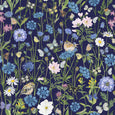 Goldcrest and Cornflowers fabric by the metre - Navy