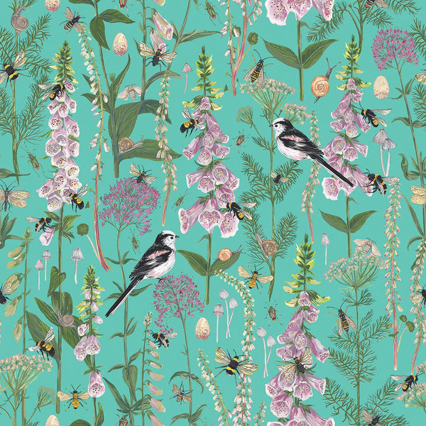 Longtail and Foxglove fabric by the metre - Turquoise