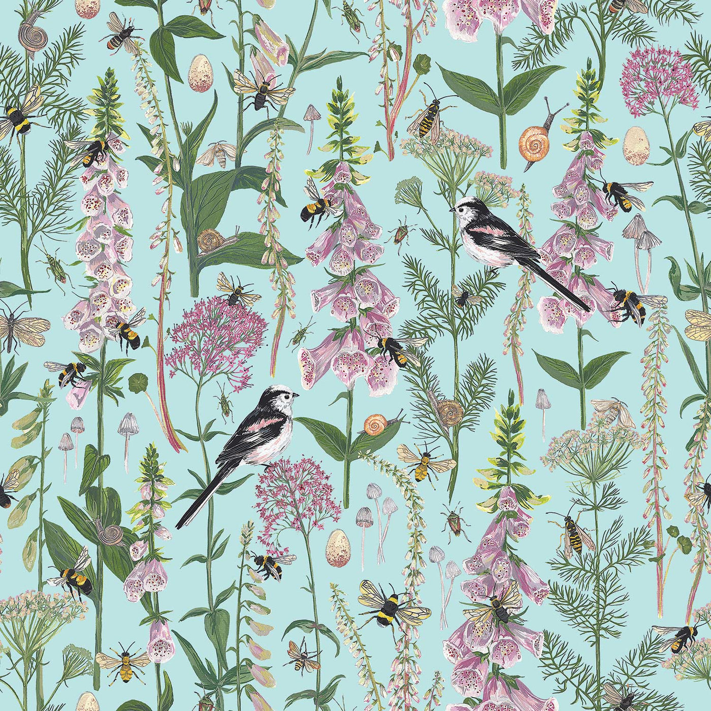 Longtail and Foxglove fabric by the metre - Mint