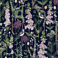 Longtail and Foxglove fabric by the metre - Navy