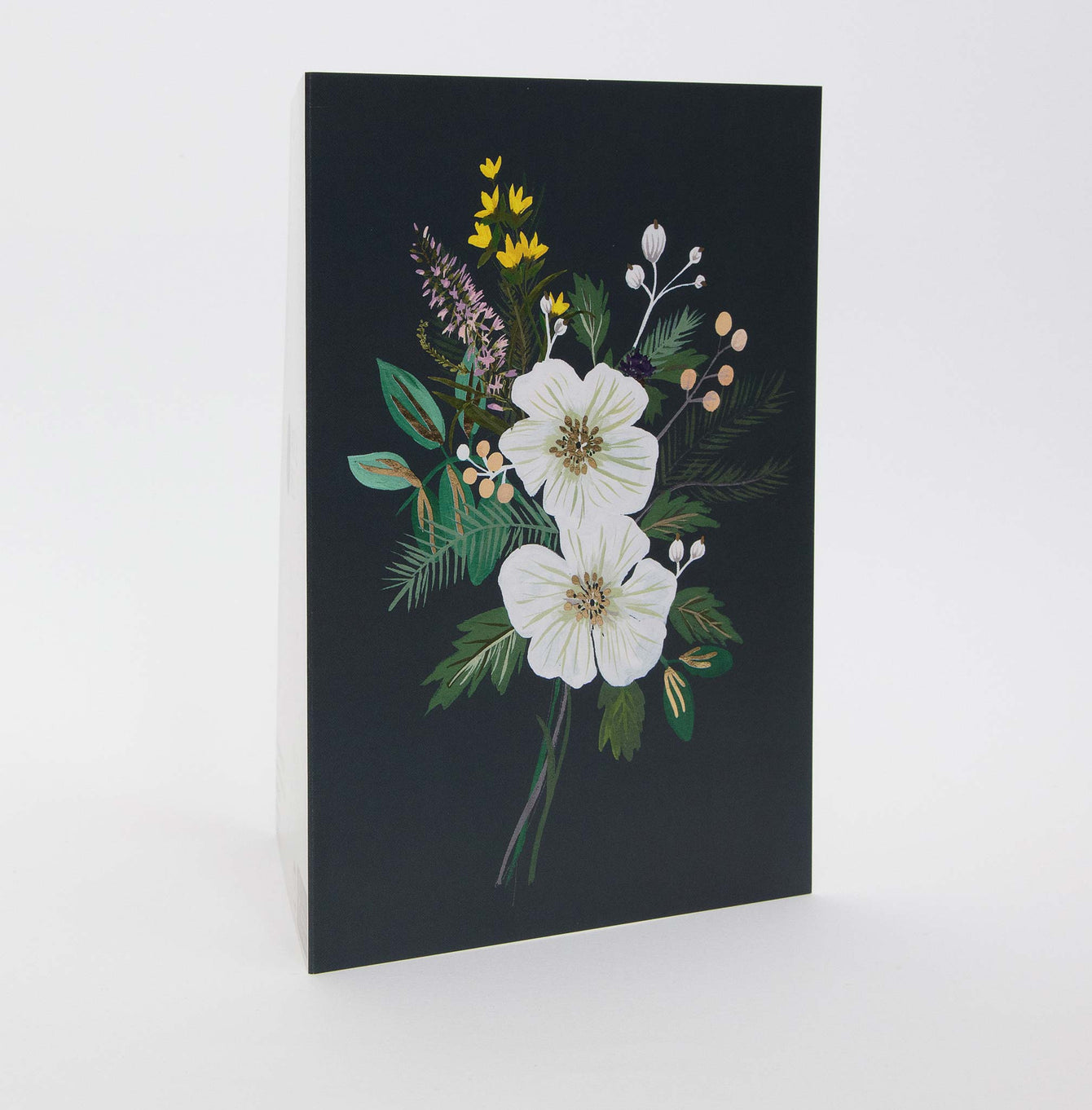 White Rose and berries blank card