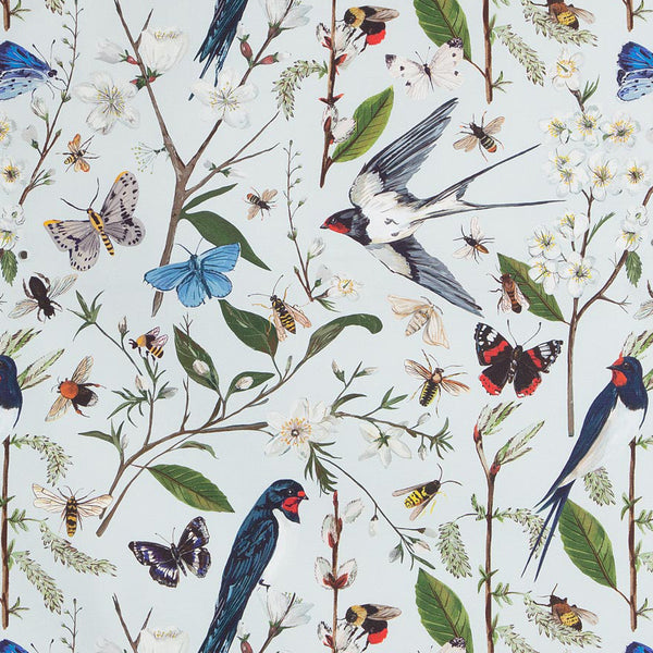 Swallows and Blossom fabric by the metre