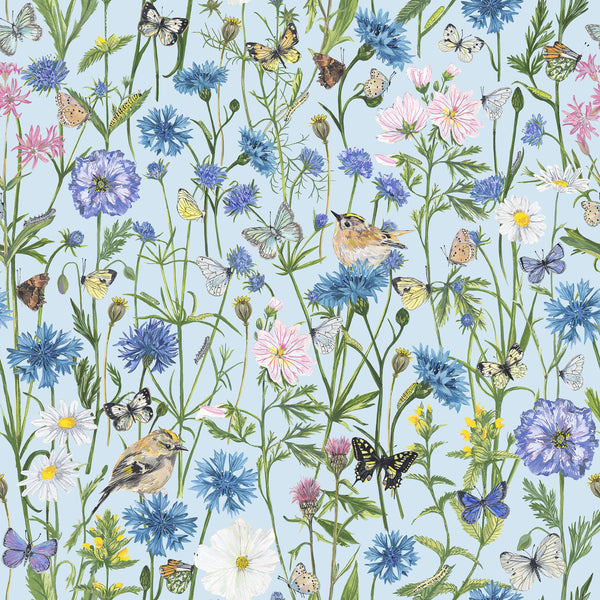 Goldcrest and Cornflowers fabric by the metre - Light Blue