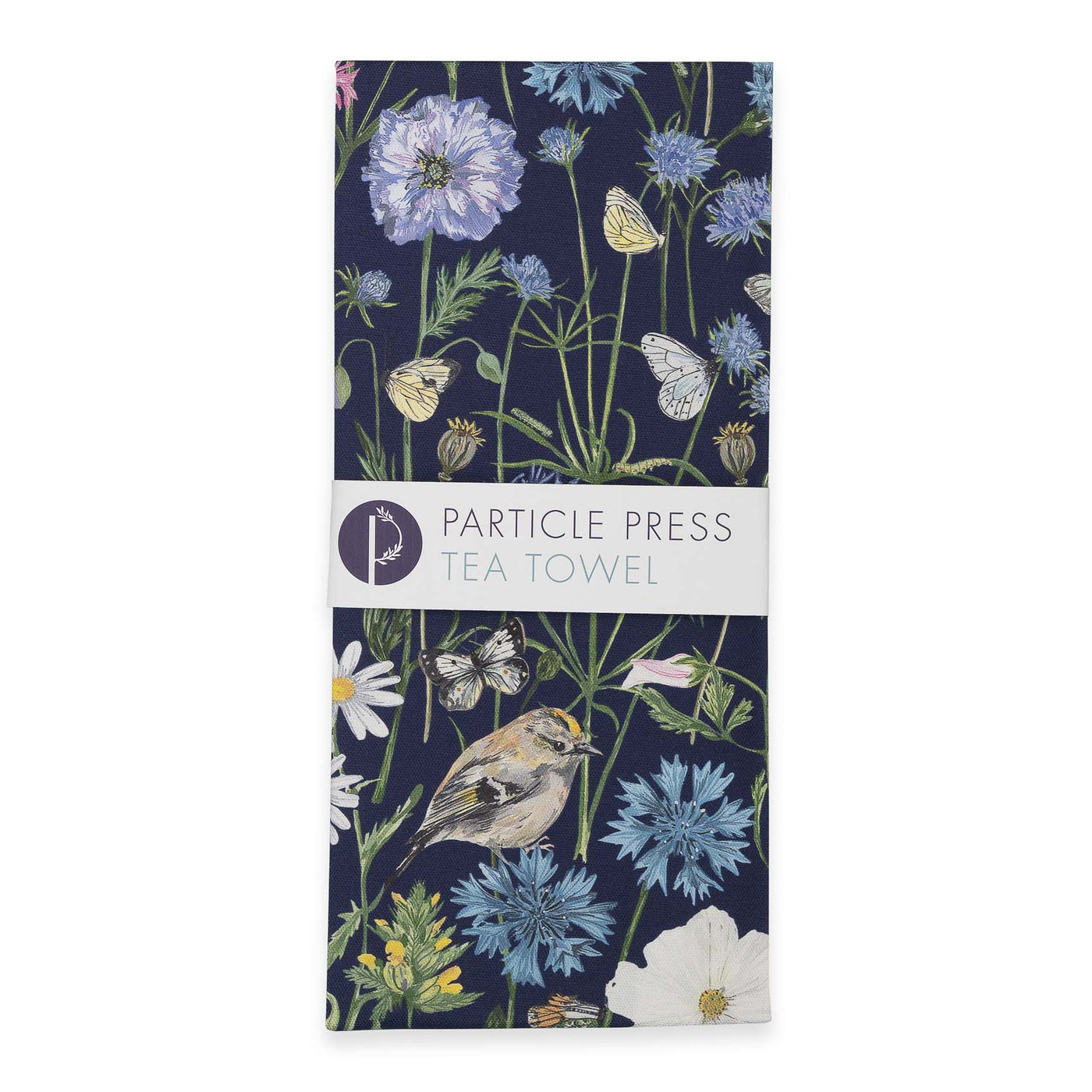 Goldcrest and Cornflower Tea Towel - Navy