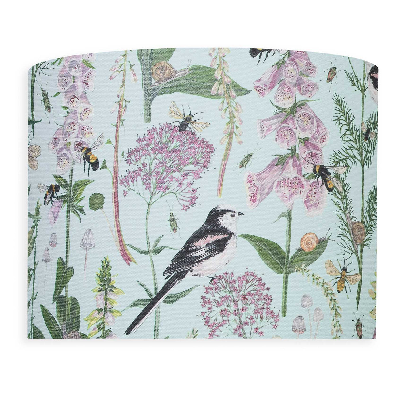 Longtail and Foxglove Lampshade - Mint