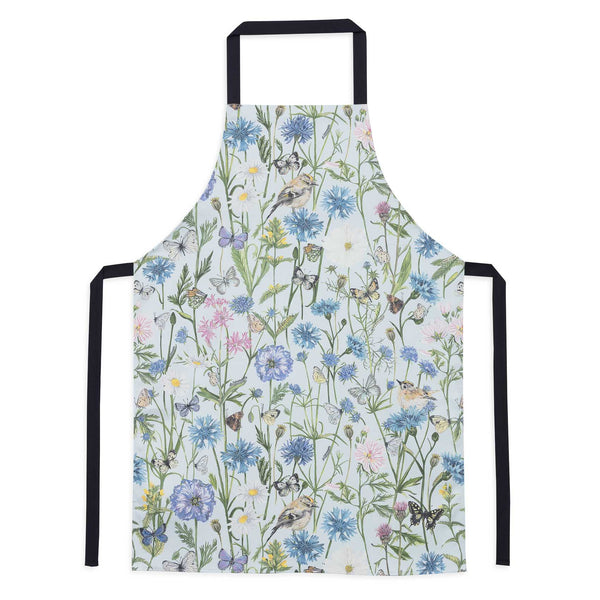 Goldcrest and Cornflower baking apron, light blue with summer wild florals. Blue poppies, Cornflowers, common mallow, common rattle, poppy heads, thistles. baking apron with navy waist ties. floral baking apron.