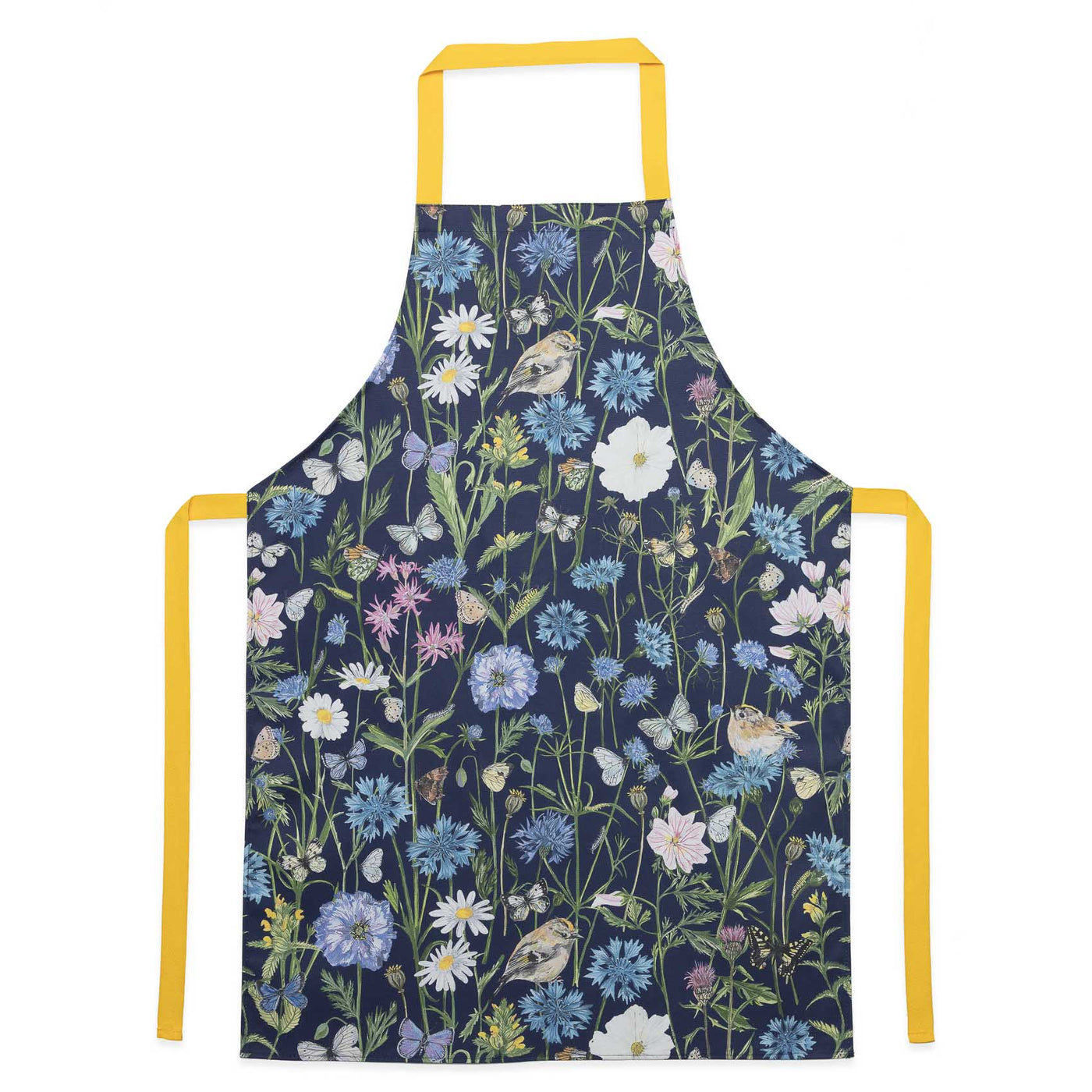 Bright and colourful bird and floral apron. Ideal for baking, a excellent gift for anyone that loves baking and nature, or lives in the countryside. Navy blue with yellow waist ties. Original apintings are used to create this pattern, including Goldcrests, 17 diffrent types of British Butterflies, Cornflowers, thistles, common mallow and poppies.
