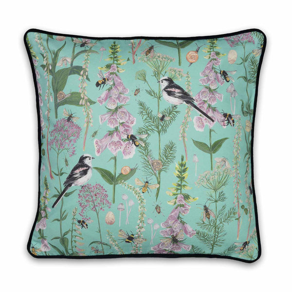 Longtail and Foxglove Cushion - Turquoise