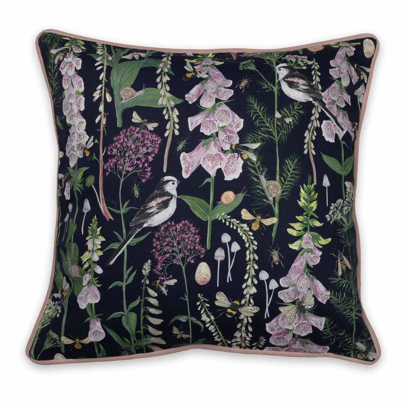 Longtail and Foxglove Cushion - Navy