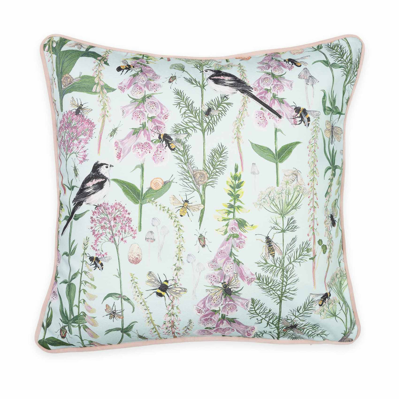 Longtail and Foxglove Cushion - Mint Green