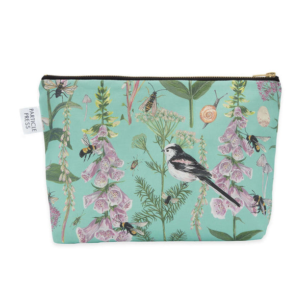 Longtail and Foxglove Large Wash Bag - Turquoise
