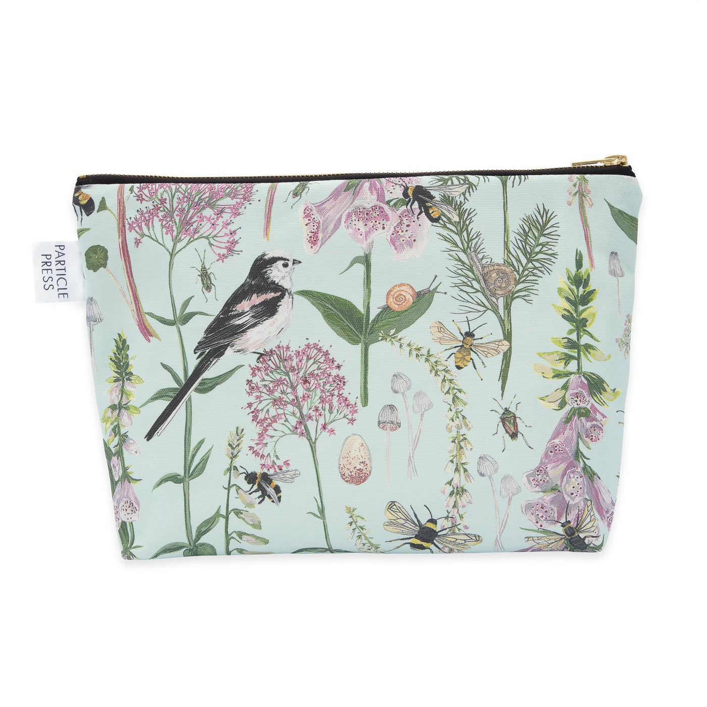 Longtail and Foxglove Large Wash Bag - Mint