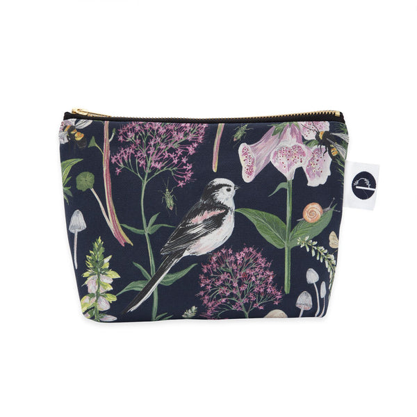 Longtail and Foxglove Small Make-up Bag - Navy