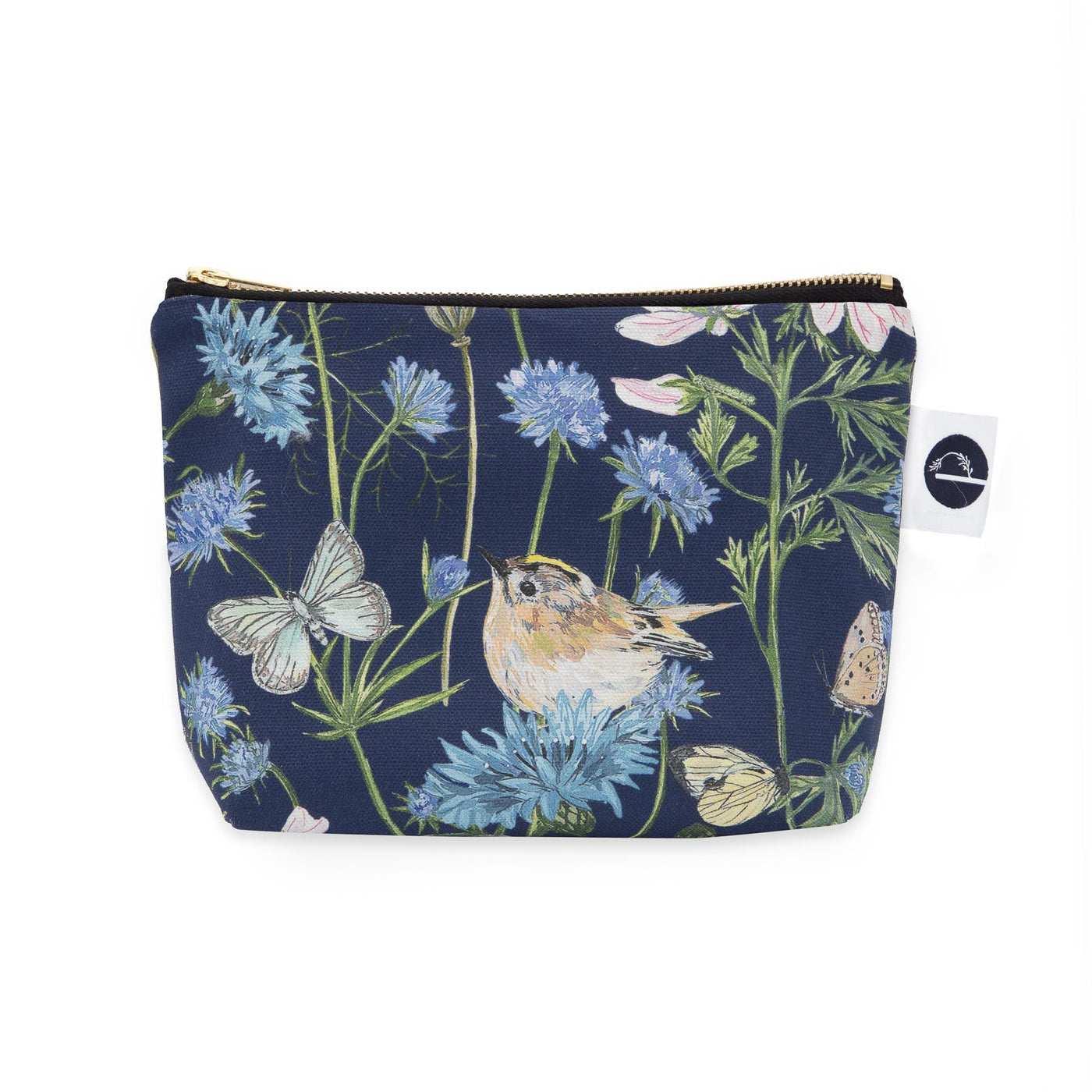 Goldcrest and Cornflower Small Make-up Bag - Navy