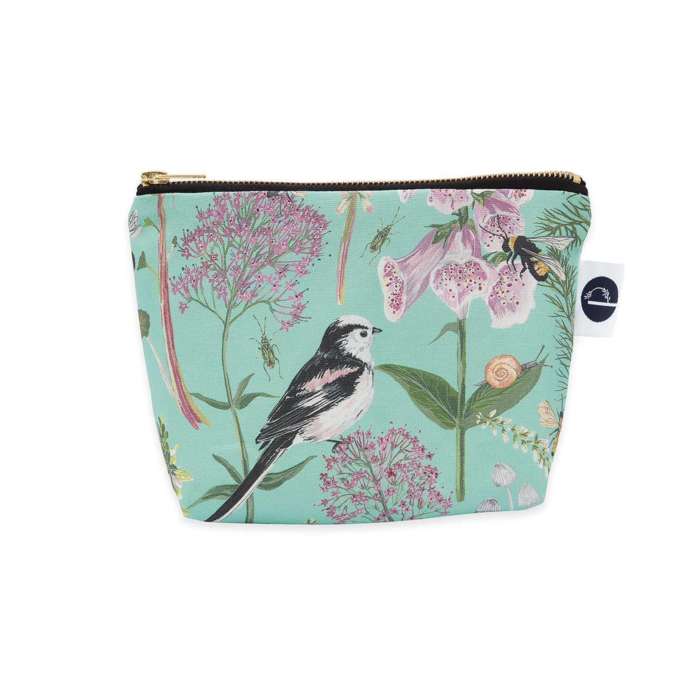 Longtail and Foxglove Small Make-up Bag - Turquoise