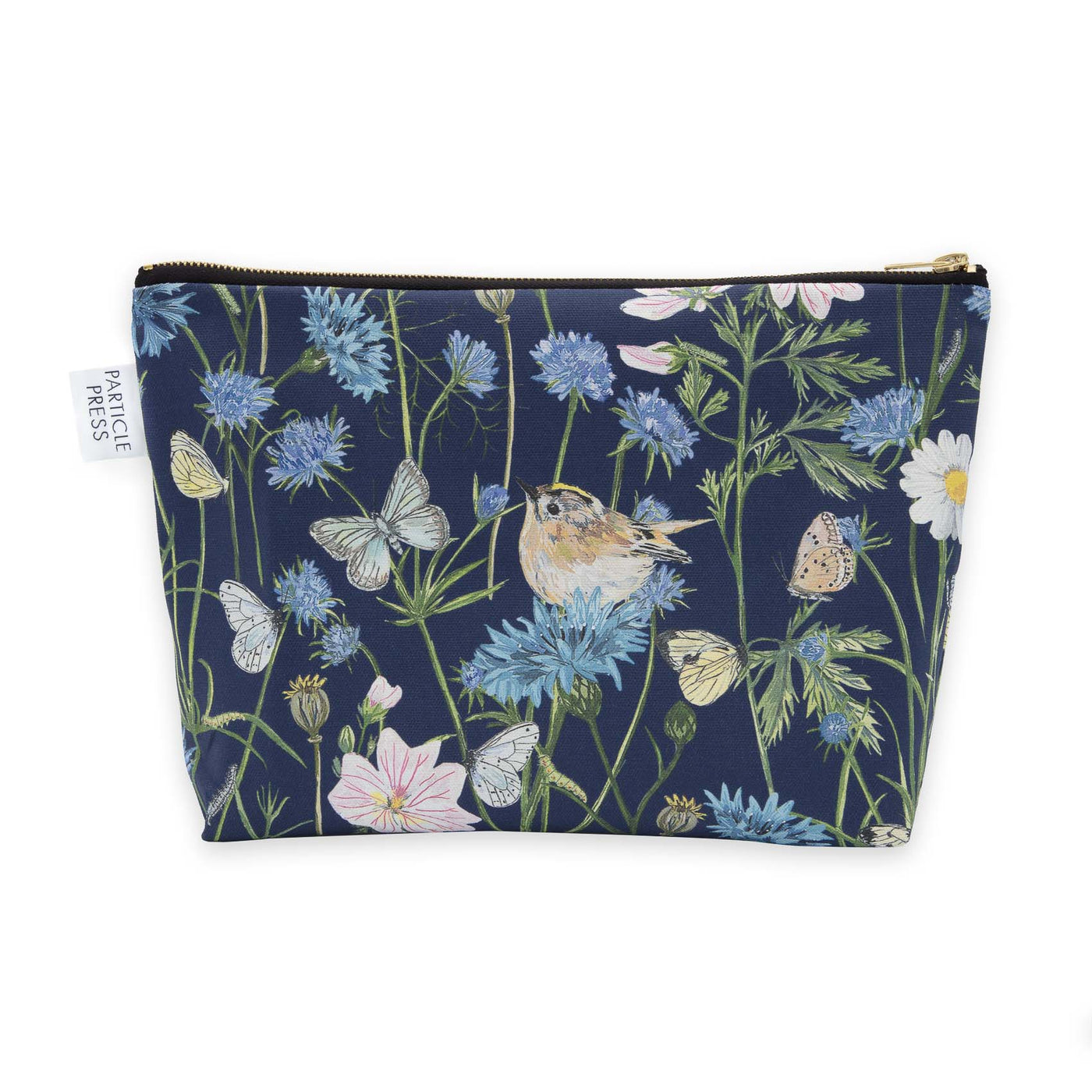 Bright and colourful bird and floral wash bag. Ideal for holidays, an excellent gift for anyone that loves birds and nature, or lives in the countryside. Navy blue with white waterproof lining. Original paintings are used to create this pattern, including Goldcrests, 17 different types of British Butterflies, Cornflowers, thistles, common mallow, cosmos and poppies.