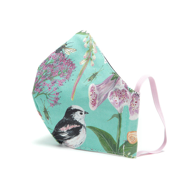 Longtail and Foxglove adjustable face covering - Turquoise