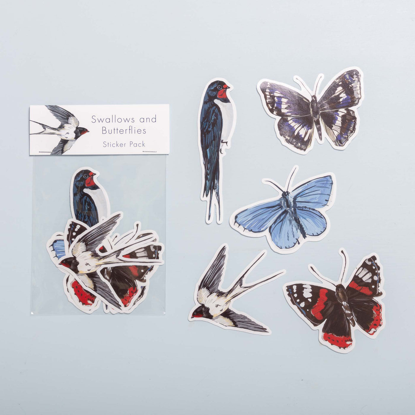 Swallows and Butterflies Vinyl Stickers