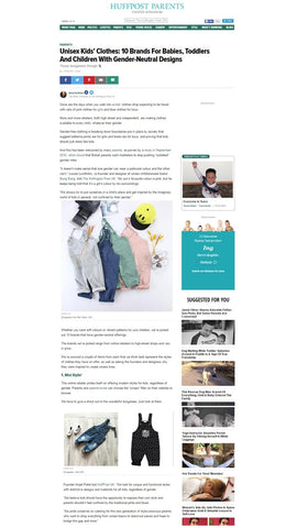 Ministylin features in the Huffington post about gender free and unisex kids clothing and accessories