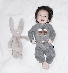 Ministylin huxbaby long sleeve bunny romper onsies unisex grey