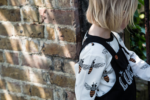 Turtledove London dungaree and bee top shop