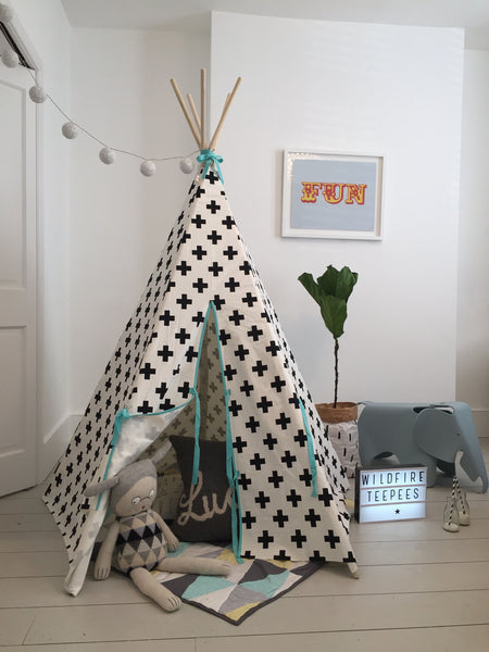 Wildfire Cross print blue trim teepee
