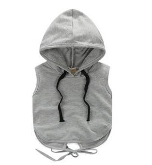 Grey sleeveless hooded drawstring top