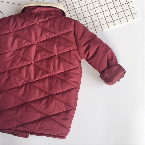 Burgandy cotton long sleeve coat