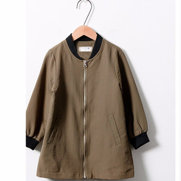 Long khaki bomber jacket